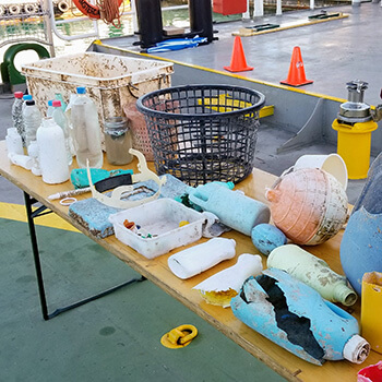 A few of the plastic items retrieved from the Great Pacific Garbage Patch