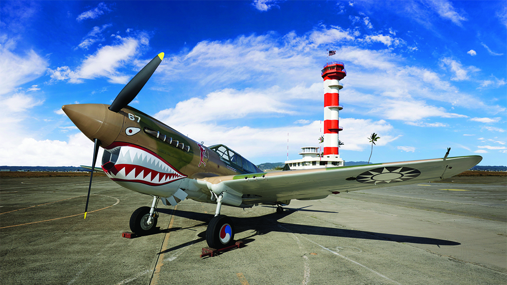 P-40 with Ford Island Field Control Tower