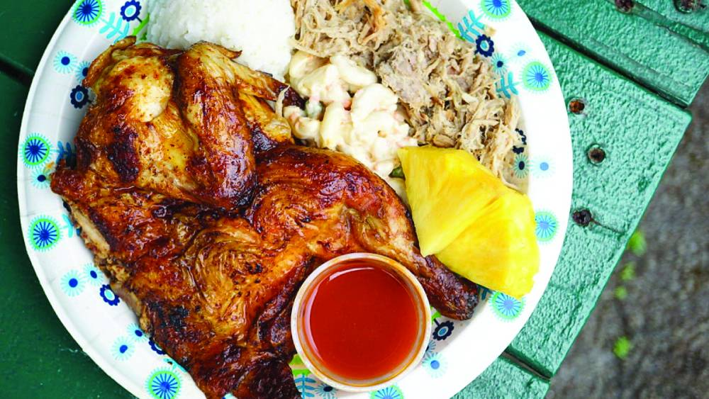Debbie's favorite Chicken / Kalua Pig Combo plate at Mike's Huli Chicken