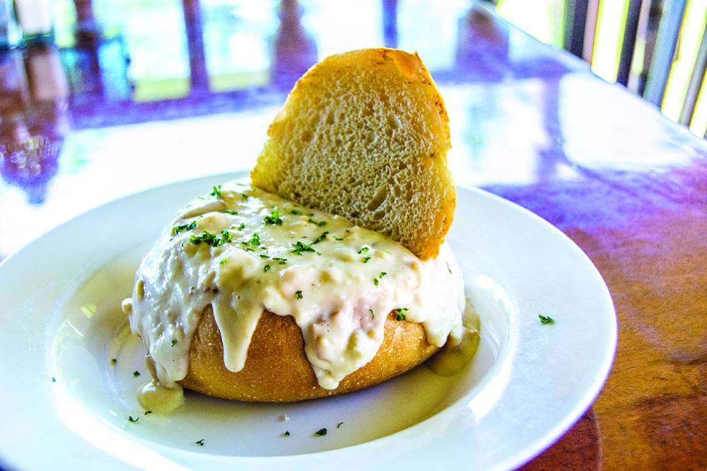 Homemade Clam Chowder Bread Bowl at Captain Jack's Island Grill